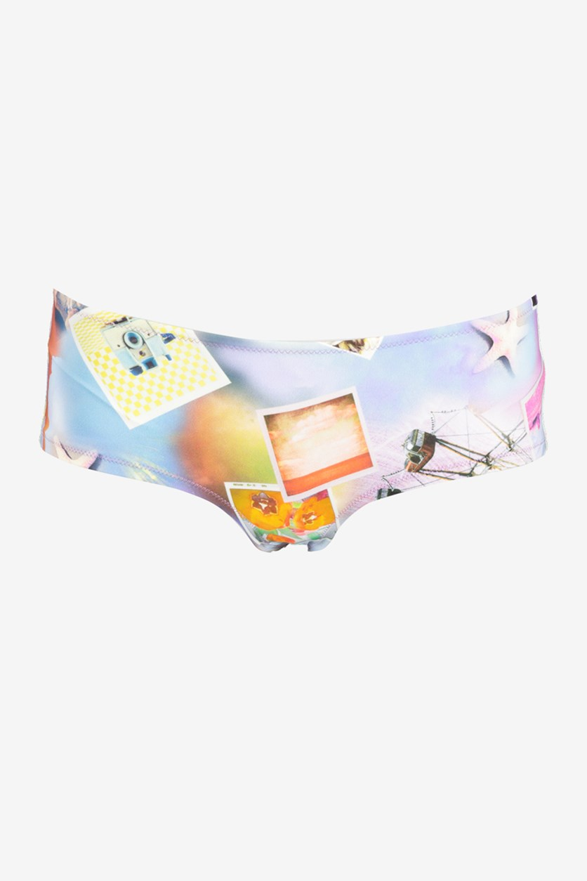 Women's Printed Bikini Bottom, Purple Combo