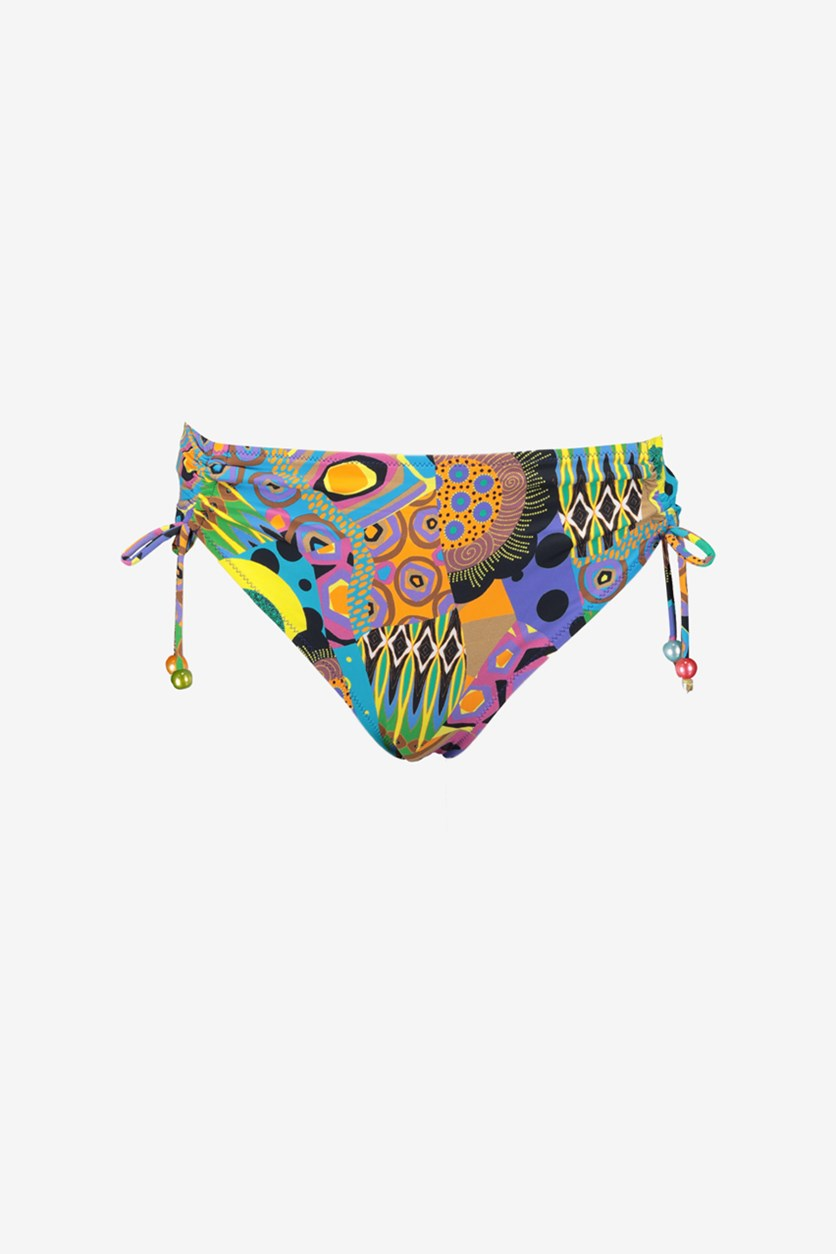 Women's Tribal Print Bikini Bottom, Purple Combo