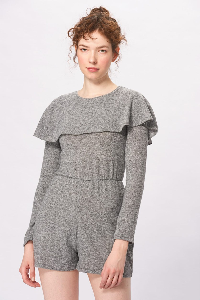 Women's Longsleeve Romper, Heather Grey