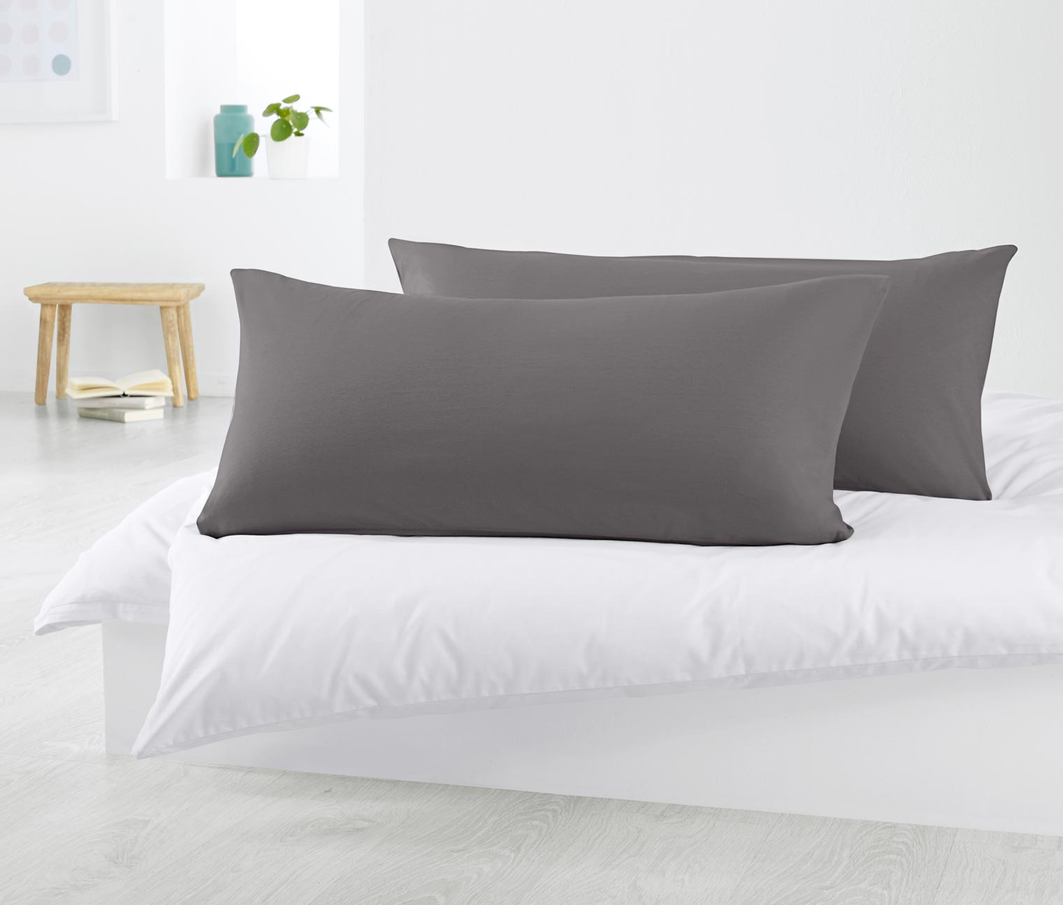 2 Jersey Pillowcases 40 x 80 cm, Grey