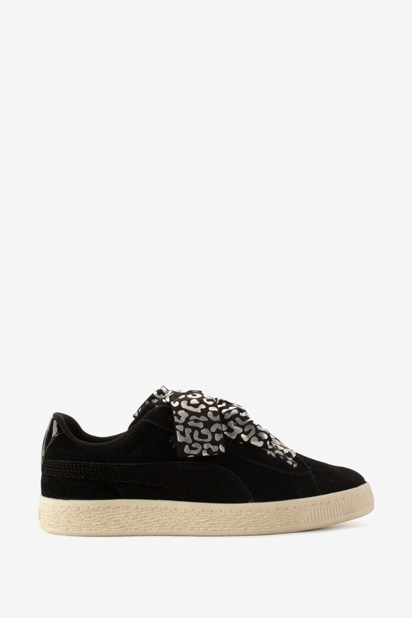 Junior Suede Heart AthLuxe Shoes, Black