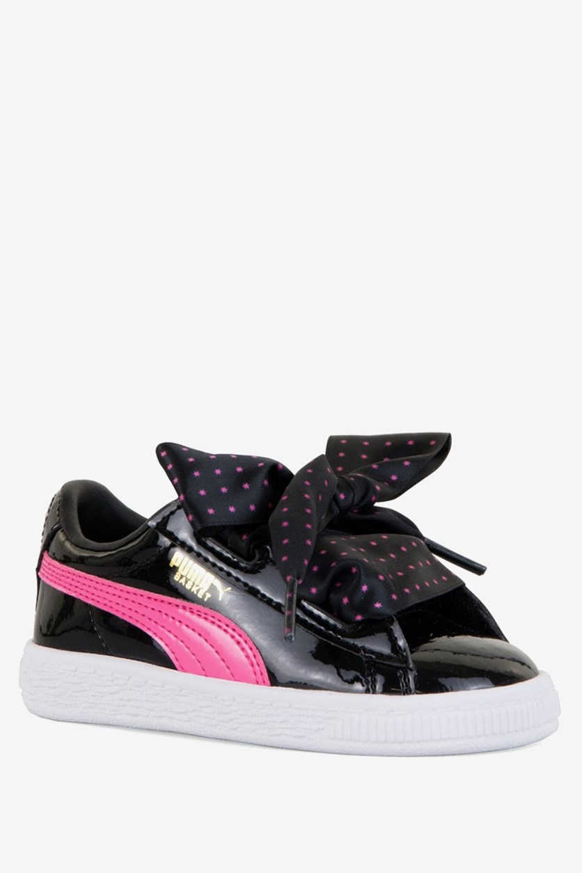 Toddler Girl's  Basket Heart Patent Stars Trainers, Black