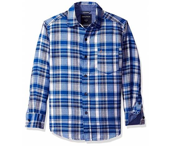 Nautica Boy's Ensign Button Front Shirt, Blue