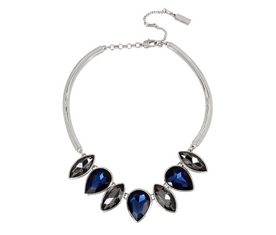 Kenneth Cole Women's Crystal Frontal Necklace, Blue