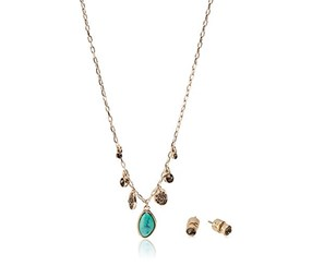 Kenneth Cole Women's Necklace And Earrings Set, Silver/Green