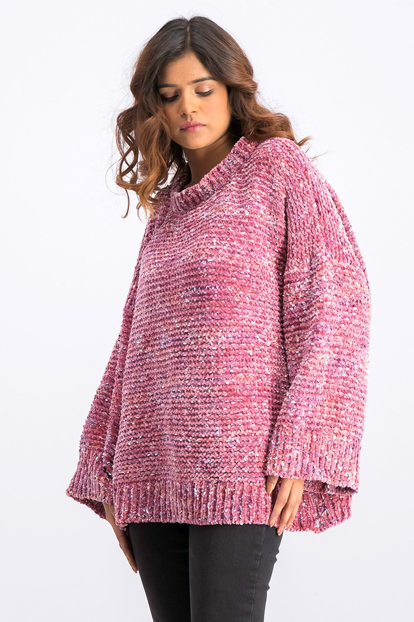 Women's Pullover Sweaters, Pink Combo
