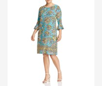 Leota Women's Plus Floral Print Bell Sleeves Casual Dress, Grotto