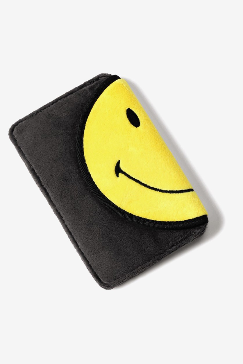 Smiley Plush Mobile Phone Pouch, Yellow/Charcoal