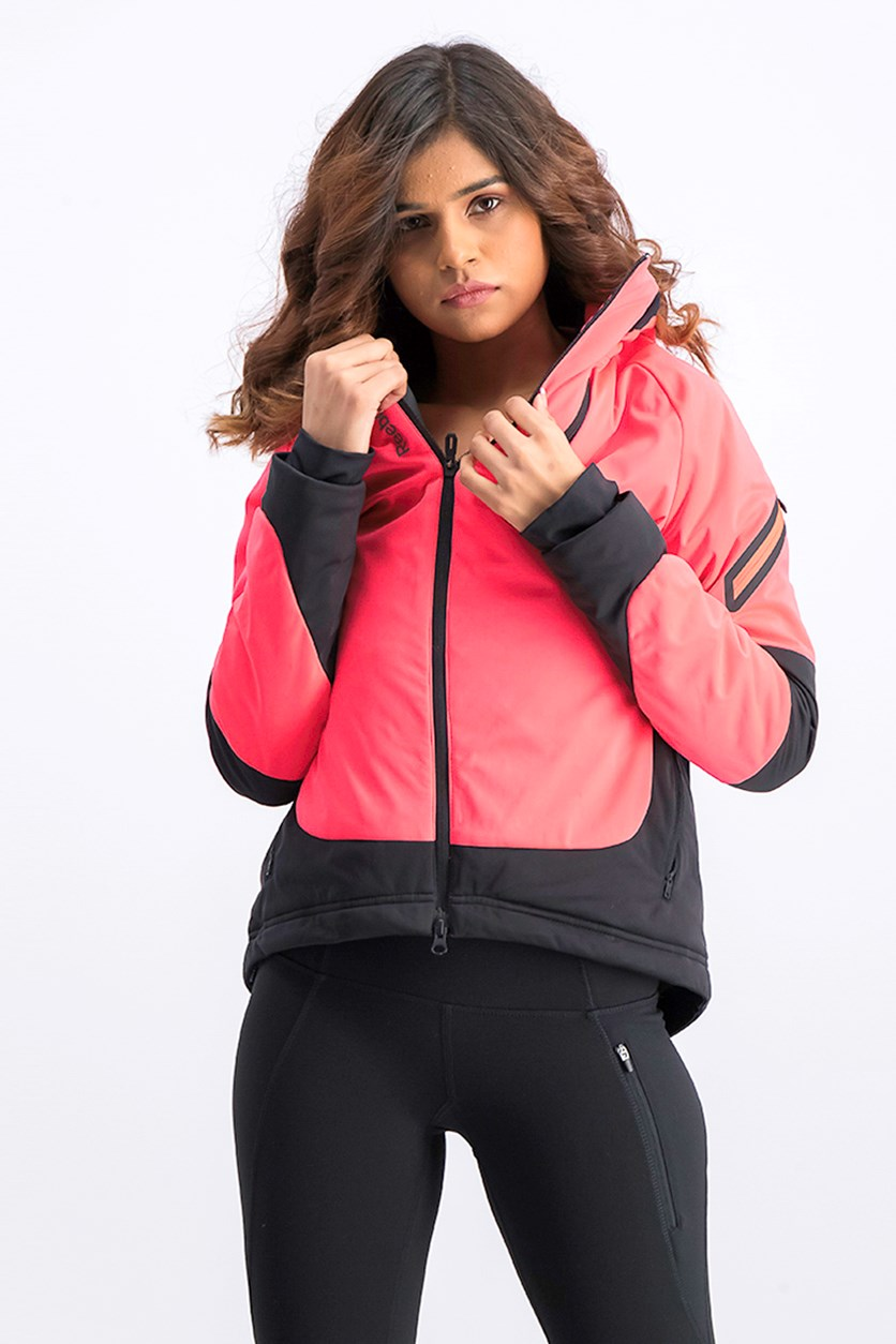 Women's Zip Up Hooded Jacket, Pink/Black