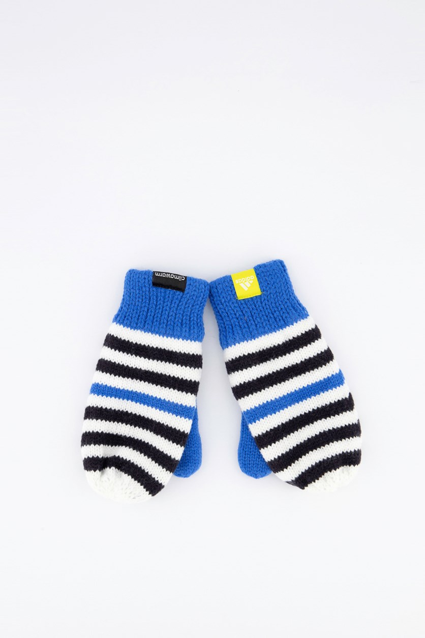 Stripy Mittens Kids Gloves, Blue/White/Black