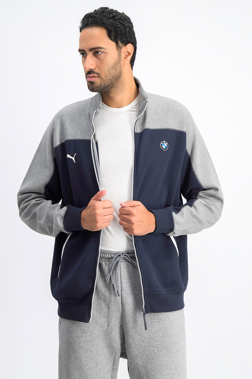 Men's Cotton Track Sport Jacket, Navy/Grey