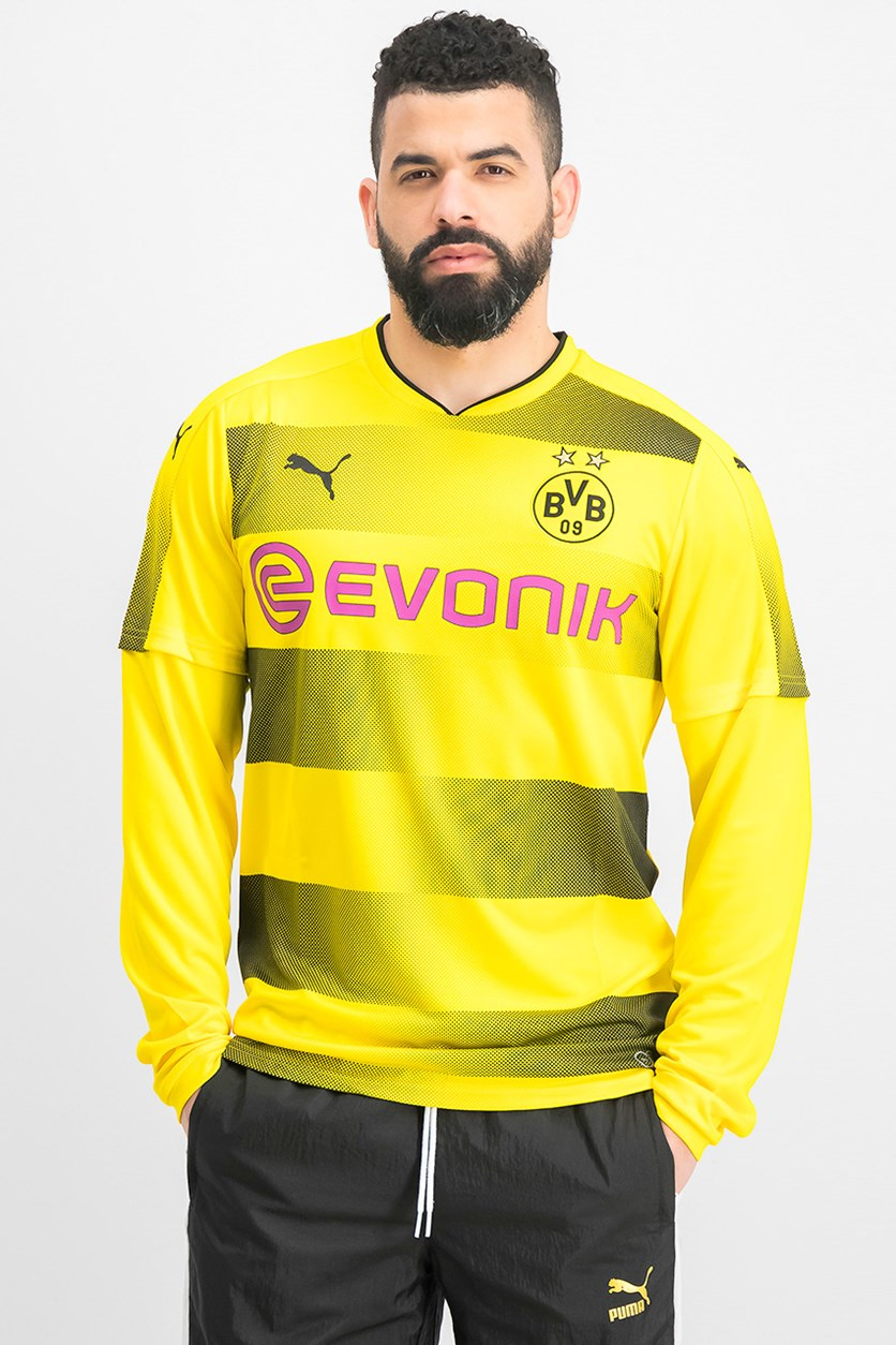 Men's BVB Long Sleeve Home Replica Shirt, Cyber Yellow/Black