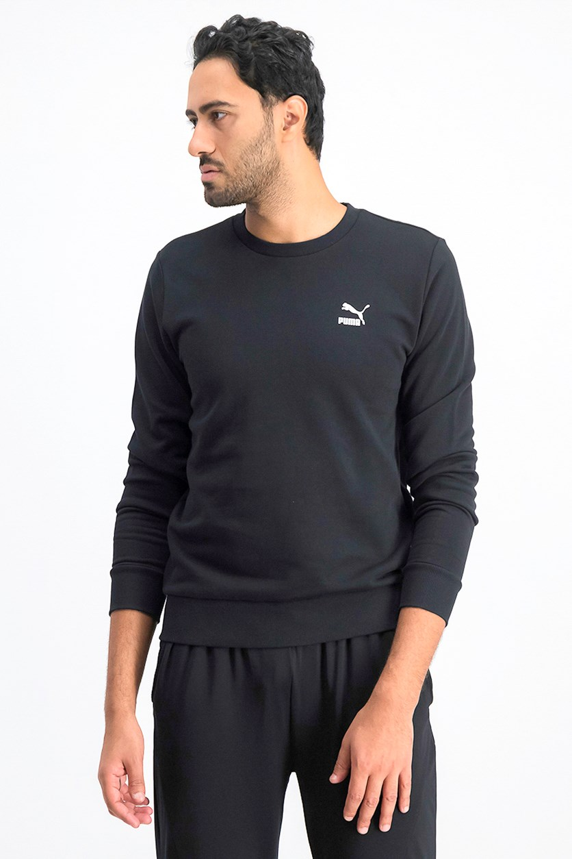Men's Crew Neck Pullover Sweater, Black
