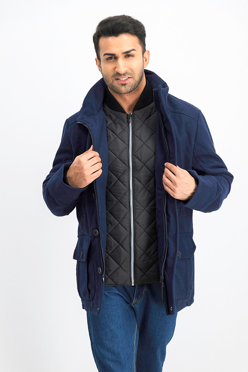 Men's Bomber-Insert Wool-Blend Jacket, Navy