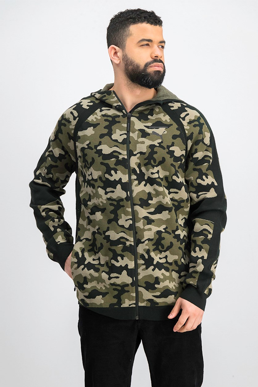 Men Evoknit Move Camo Hoodie Jacket, Olive/Black
