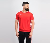 Puma Men Short Sleeve Training Top, Red/White