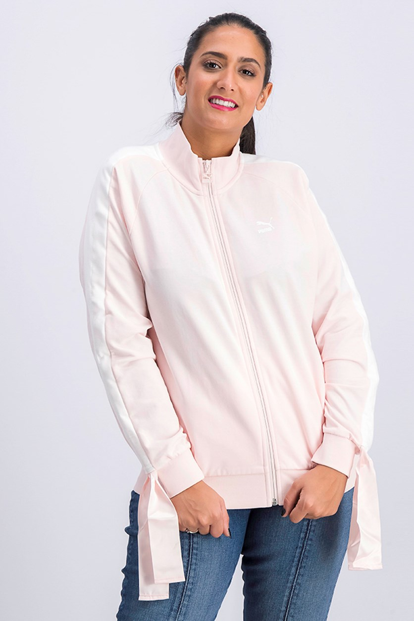 Hummer Women's Casual Knit Jacket Bow Track Jacket, Pink