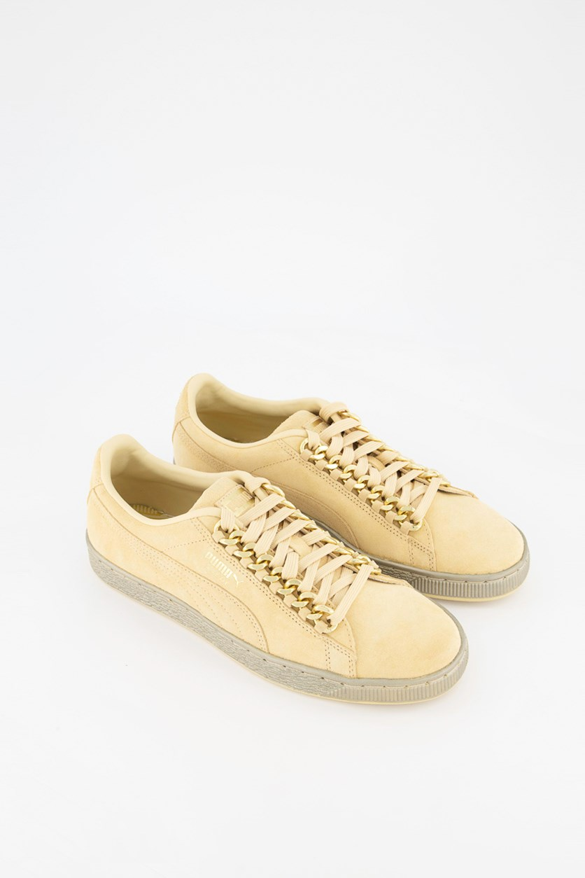 Men Suede Classic x Chain Shoes, Reed Yellow/Metallic Gold