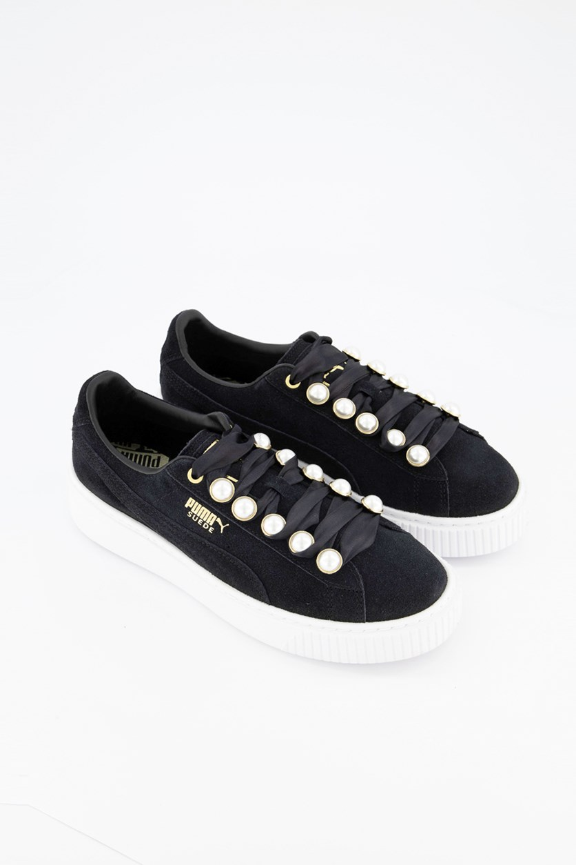 Women Suede Platform Bling Shoes, Black