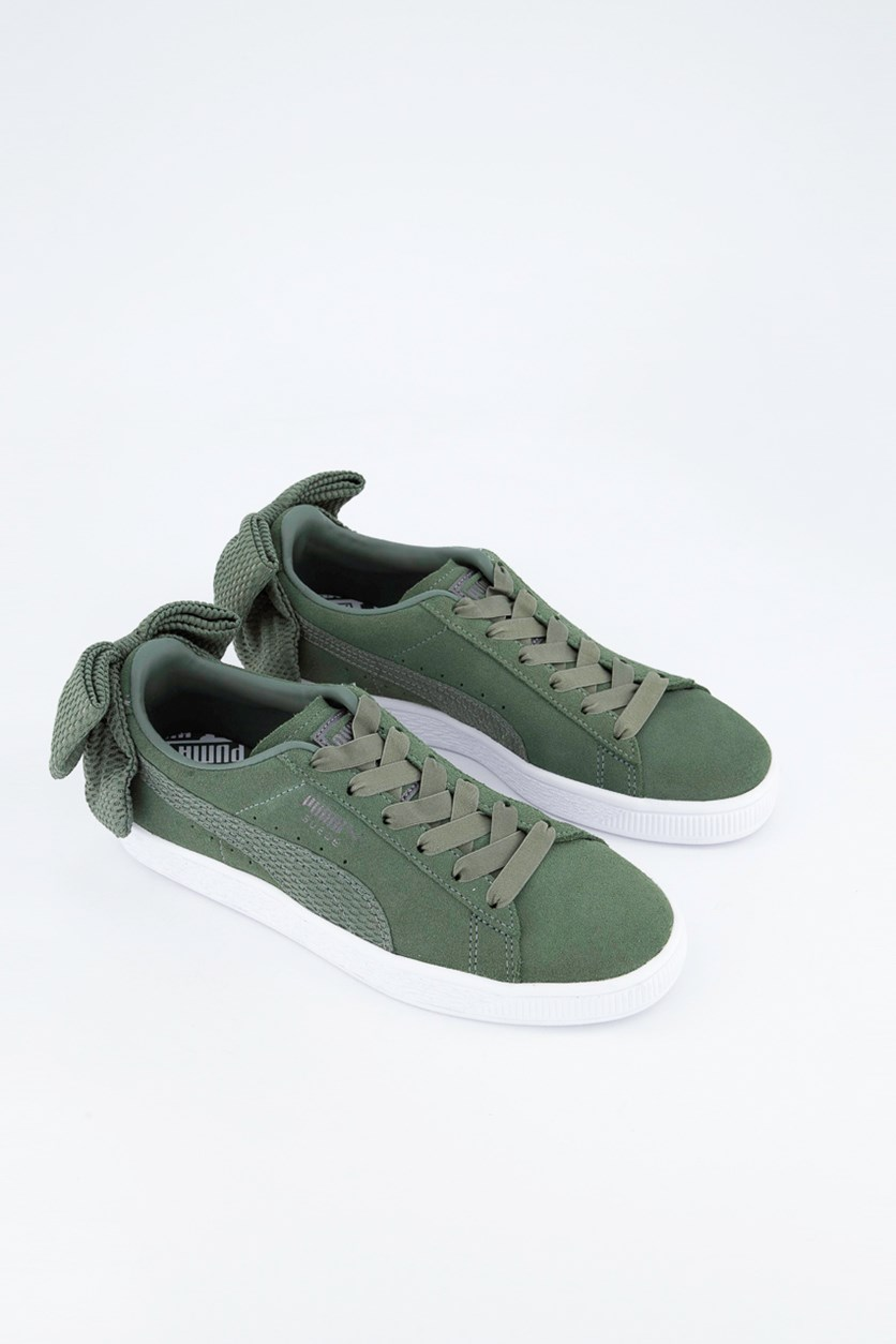 Women Suede Bow Uprising  Shoes, Laurel Wreath Green/White