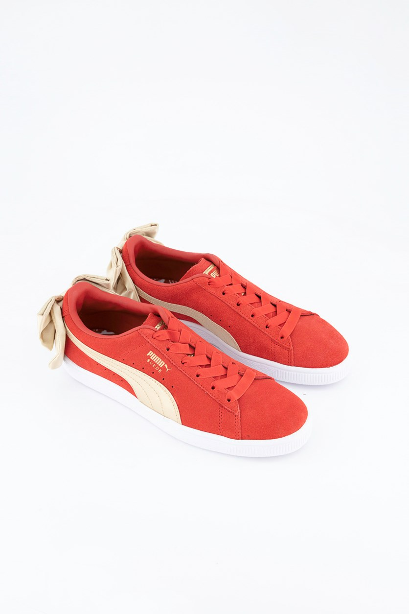 Women Suede Bow Varsity Sneaker, Red