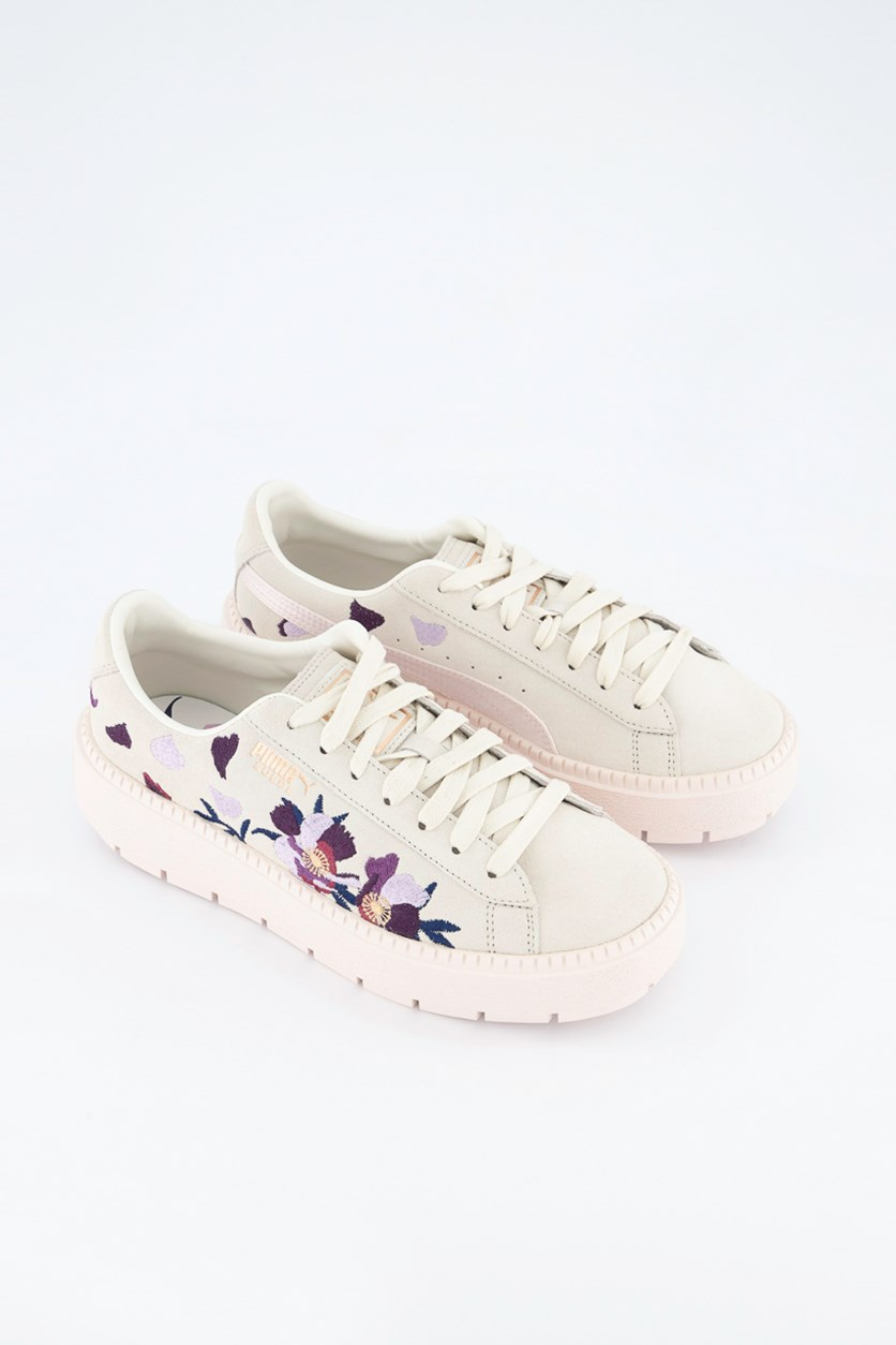 Women Suede Platform Trace Flowery Shoes, Whisper White/Mauve Morn Combo