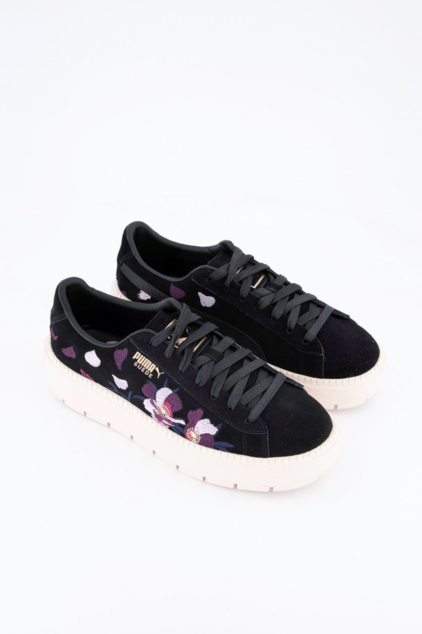 Women Suede Platform Trace Flowery Shoes, Black