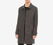 Men's Heathered Front-Button Wool Coat, Charcoal