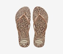 Girls Slim Animal Flip Flops, Beige/Rose Gold