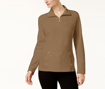 Karen Scott Women's Half-Zip Sweatshirt, Chestnut