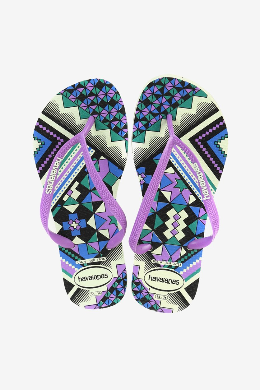 Girls Slim Tribal Flip Flops, Apple Green/Purple