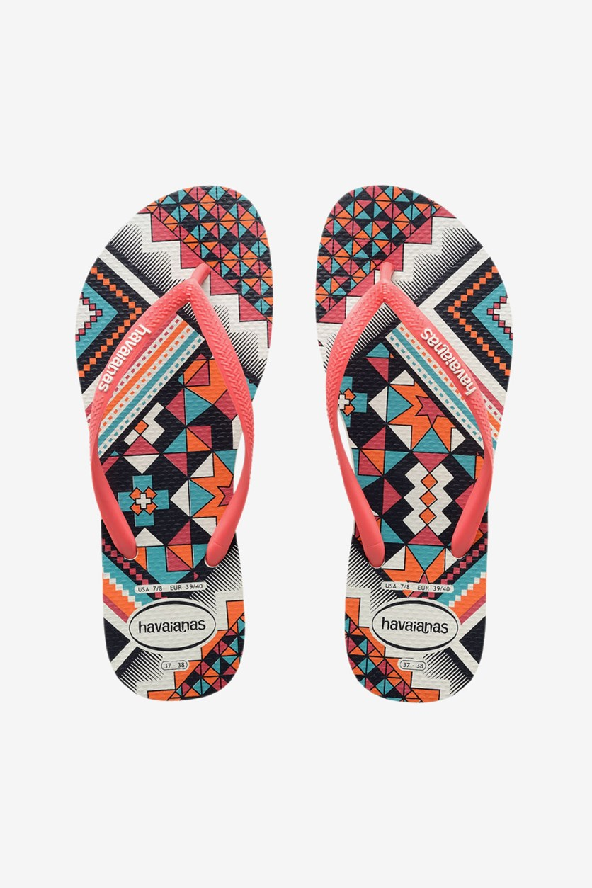 Girls Slim Tribal Flip Flops, White/Coral