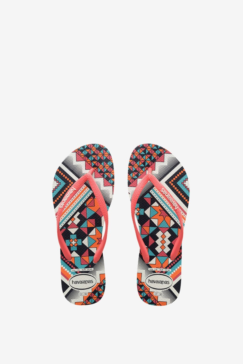 Women's Slim Tribal Flip Flops, White/Coral