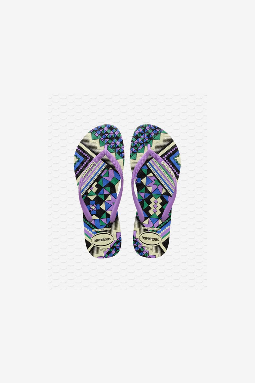 Women's Slim Tribal Flip Flop Slipper, Apple Green