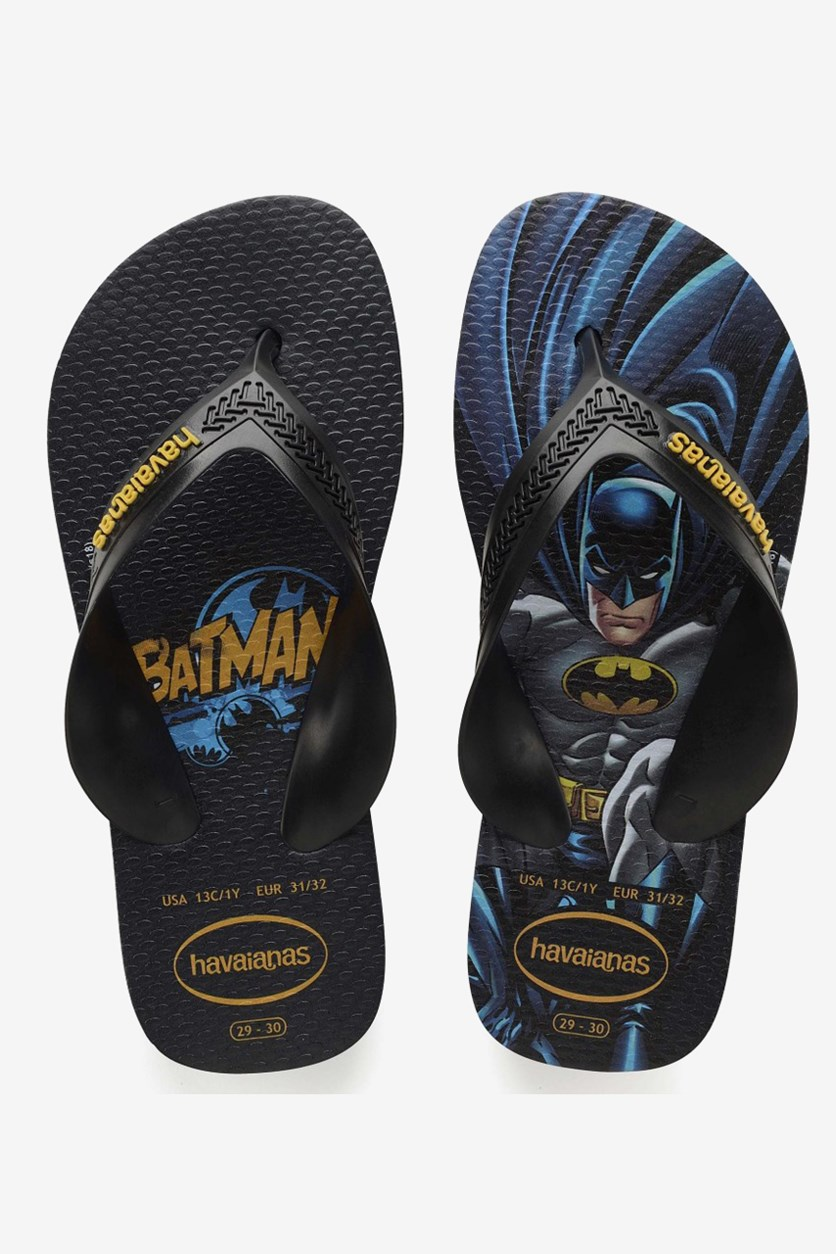 Toddler Boy's Max Heroes Batman Flip-Flops, Black/Yellow