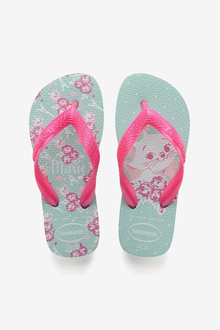 Girls Top Marie Flip Flops, Ice Blue/Pink
