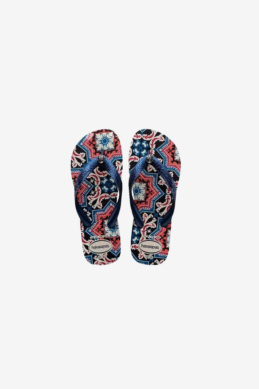 Girls Gracia Flip Flops, White/Navy Blue