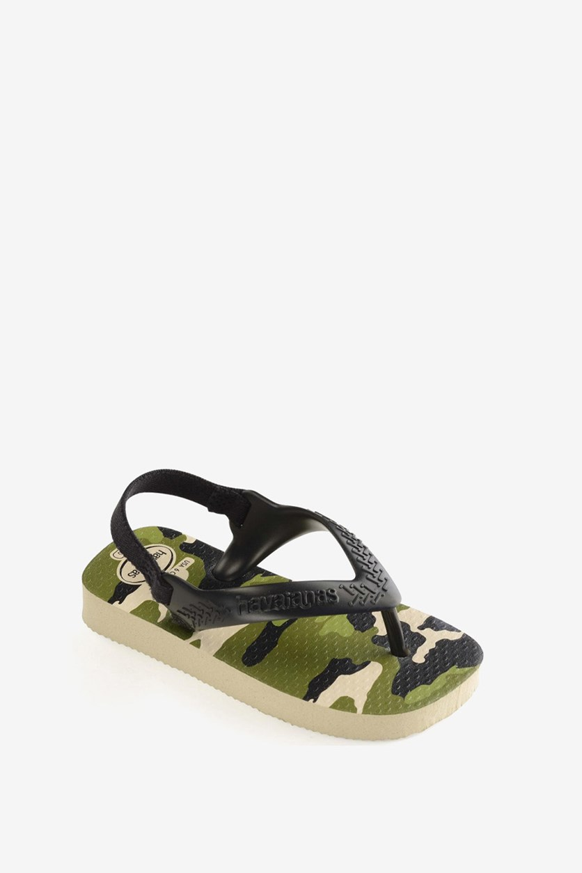 Baby Boy's Camo Military Sandals, Beige/Black