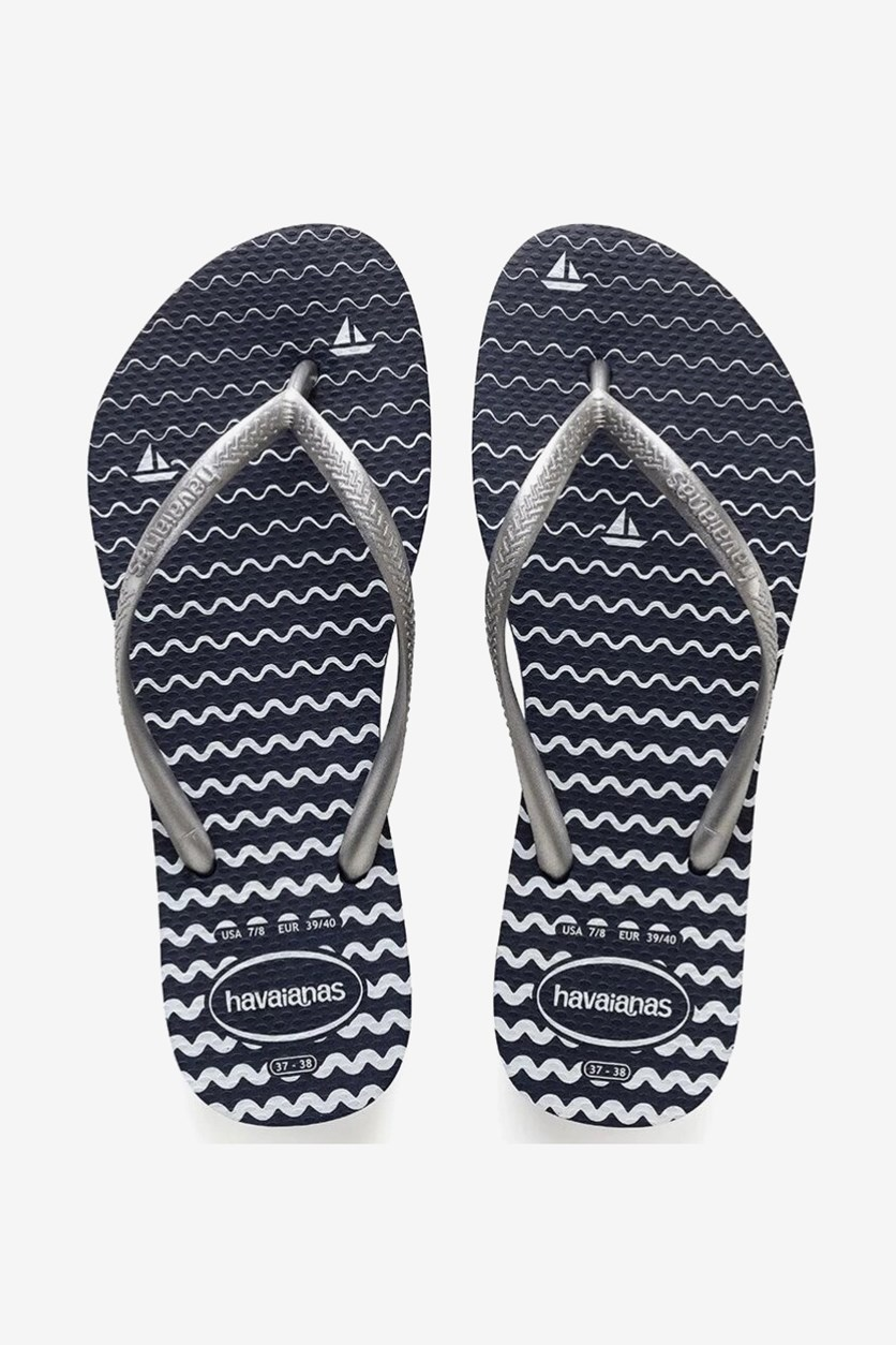 Women Slim Oceano Flip Flops, Navy Blue