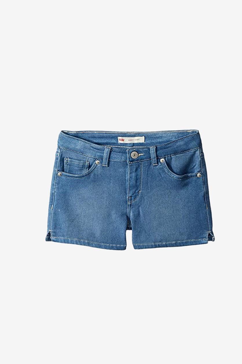 Big Girls Everyday Shorty Shorts, Wash Blue