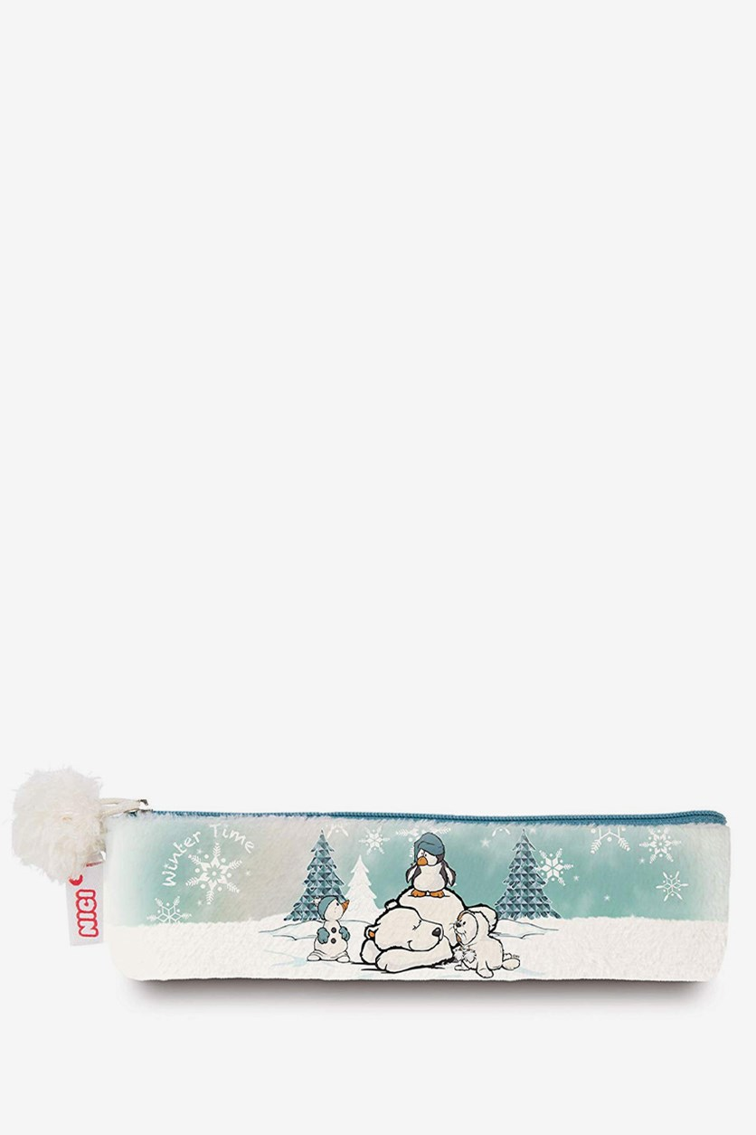 Winter Pencil Case, White Combo