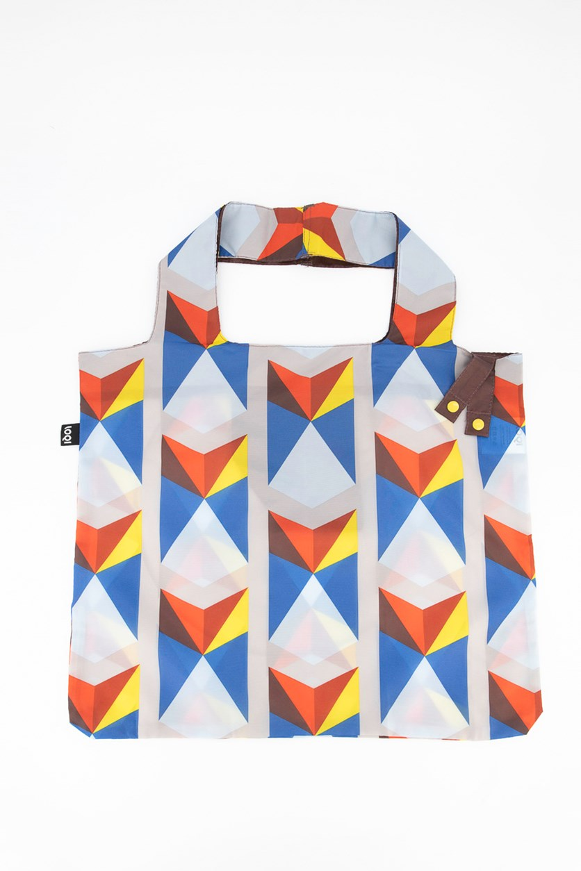 Women's Geometric Triangles Shopping Bag, Blue Combo