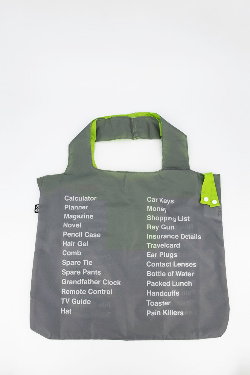 Women's Type Things Shopping Bag, Grey/Lime Green