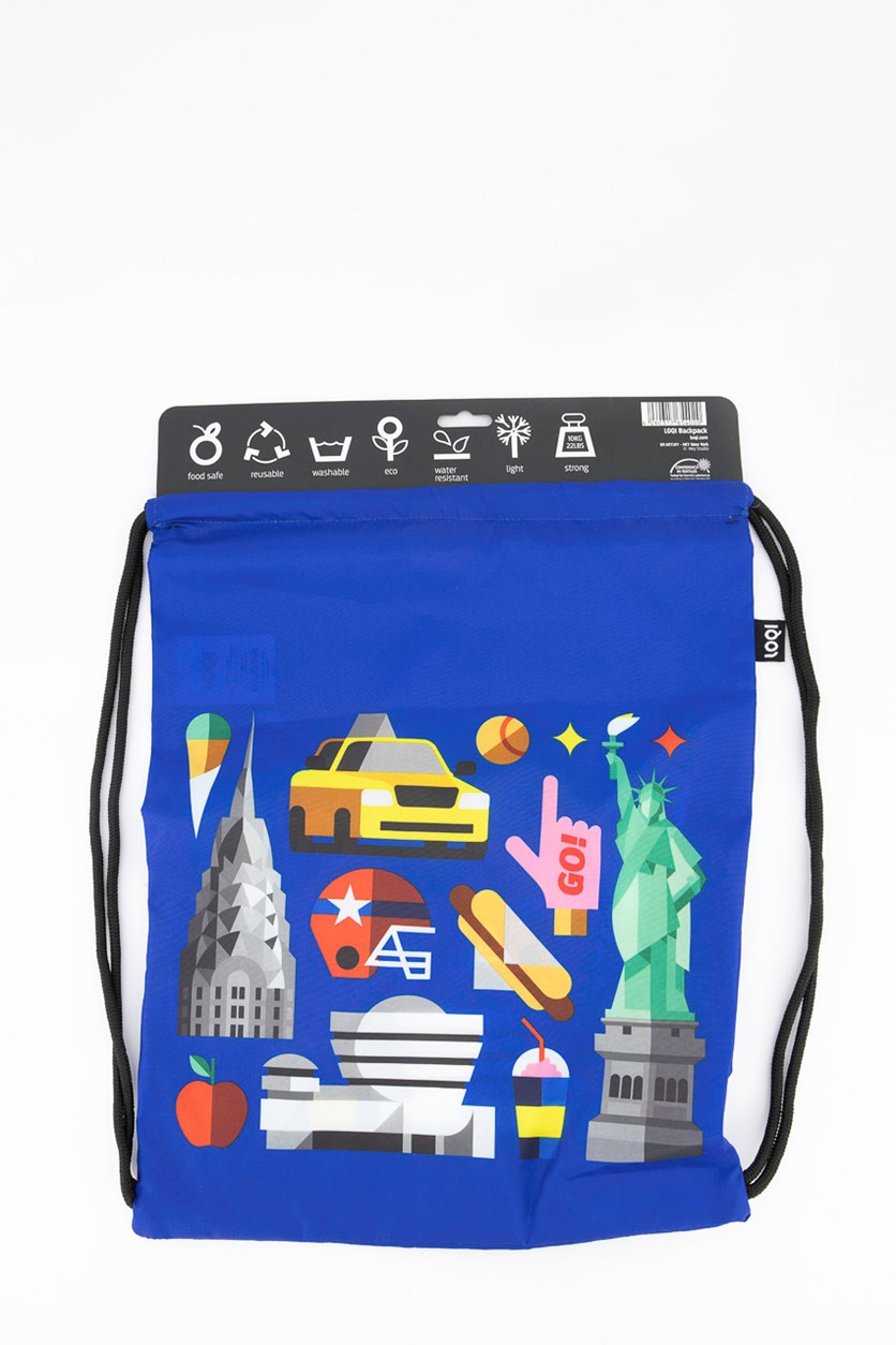 Hey Collection New York Drawstring Backpack, Blue Combo