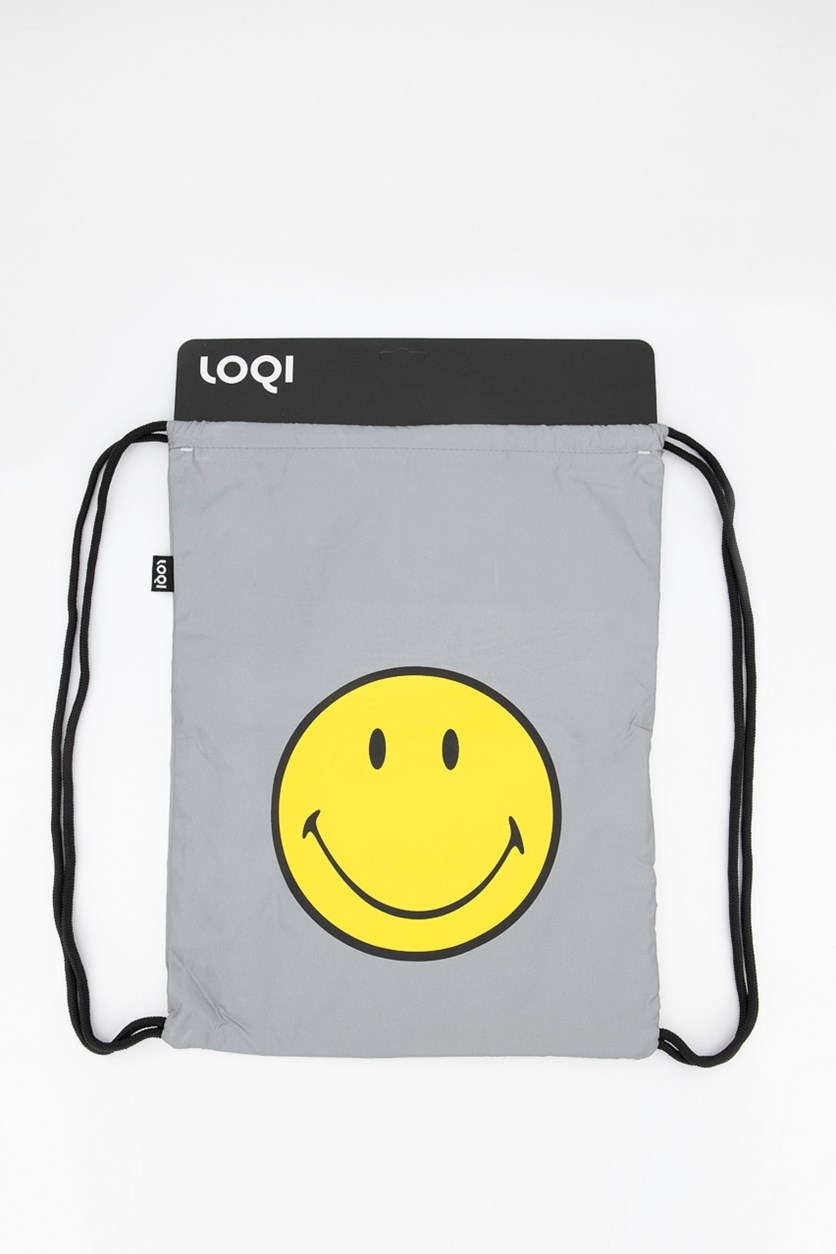 Artist Reflective Smiley Backpack, Silver
