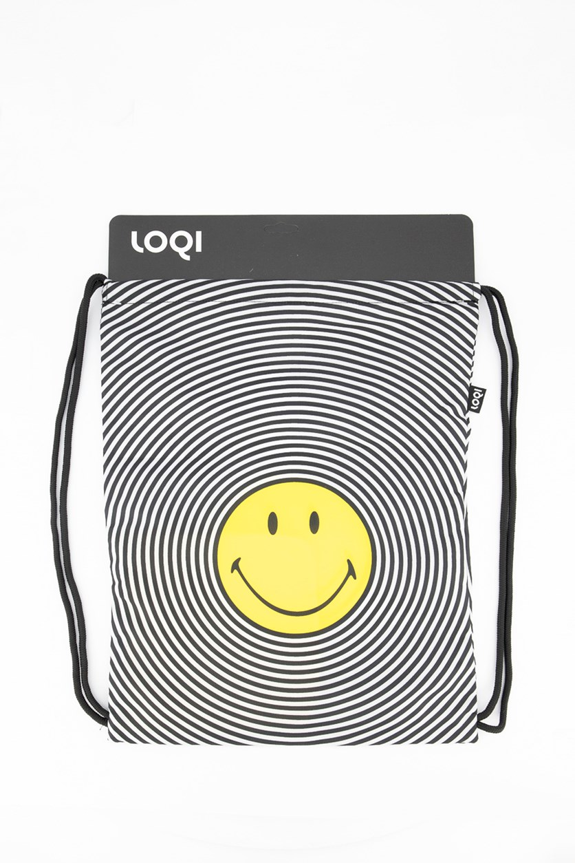 Smiley Spiral Backpack, Black/White/Yellow