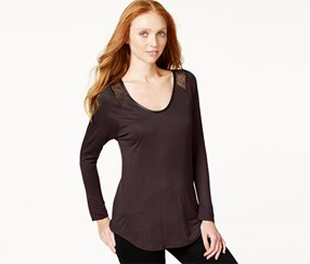 Calvin Klein Jeans Lace-Trim Long-Sleeve Top, Eldeberry
