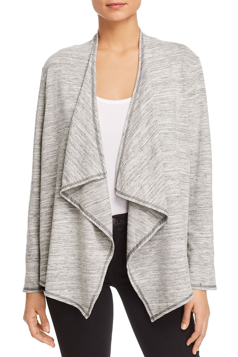 Women's Heathered Open Front Cardigan Top, Grey