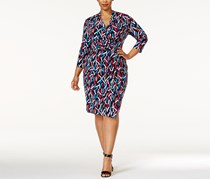 Anne Klein Women's Plus Size Printed Faux-Wrap Dress, Navy