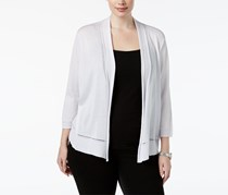 Anne Klein Plus Size Illusion-Stitch Open-Front Cardigan, Optic White